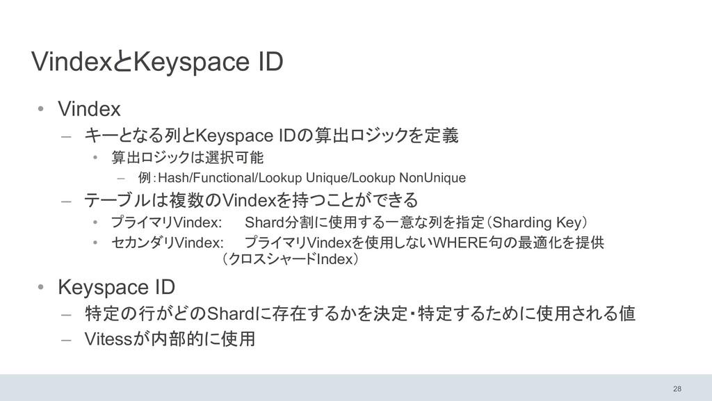 VindexとKeyspace ID • Vindex – キーとなる列とKeyspace I...