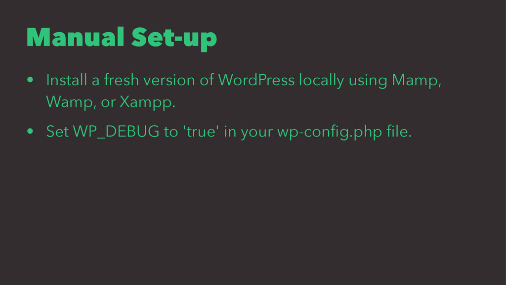 Manual Set-up • Install a fresh version of Word...