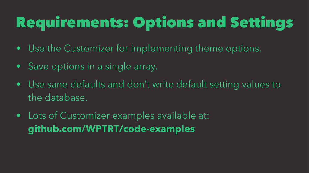 Requirements: Options and Settings • Use the Cu...