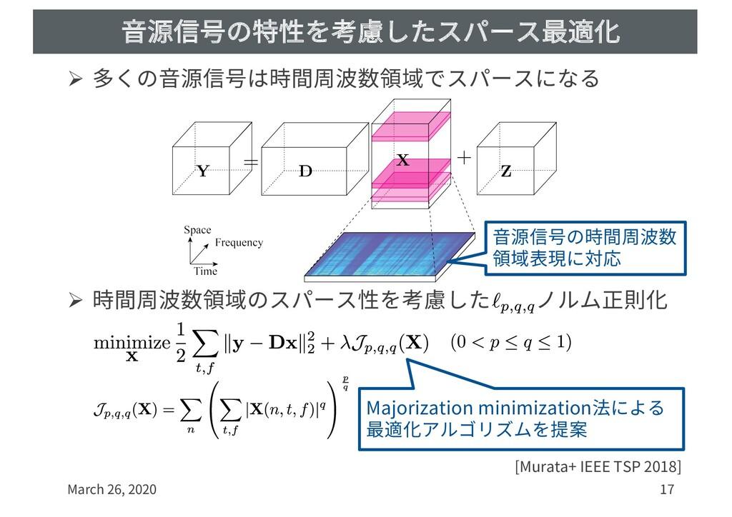⾳源信号の特性を考慮したスパース最適化 Ø 多くの⾳源信号は時間周波数領域でスパースになる Ø...