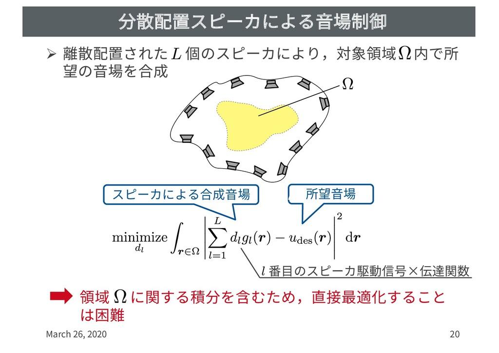 分散配置スピーカによる⾳場制御 Ø 離散配置された 個のスピーカにより,対象領域 内で所 望の...