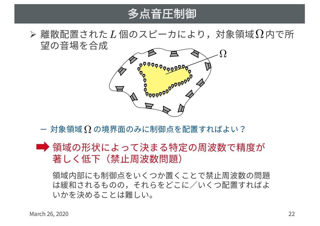 多点⾳圧制御 Ø 離散配置された 個のスピーカにより,対象領域 内で所 望の⾳場を合成 Mar...
