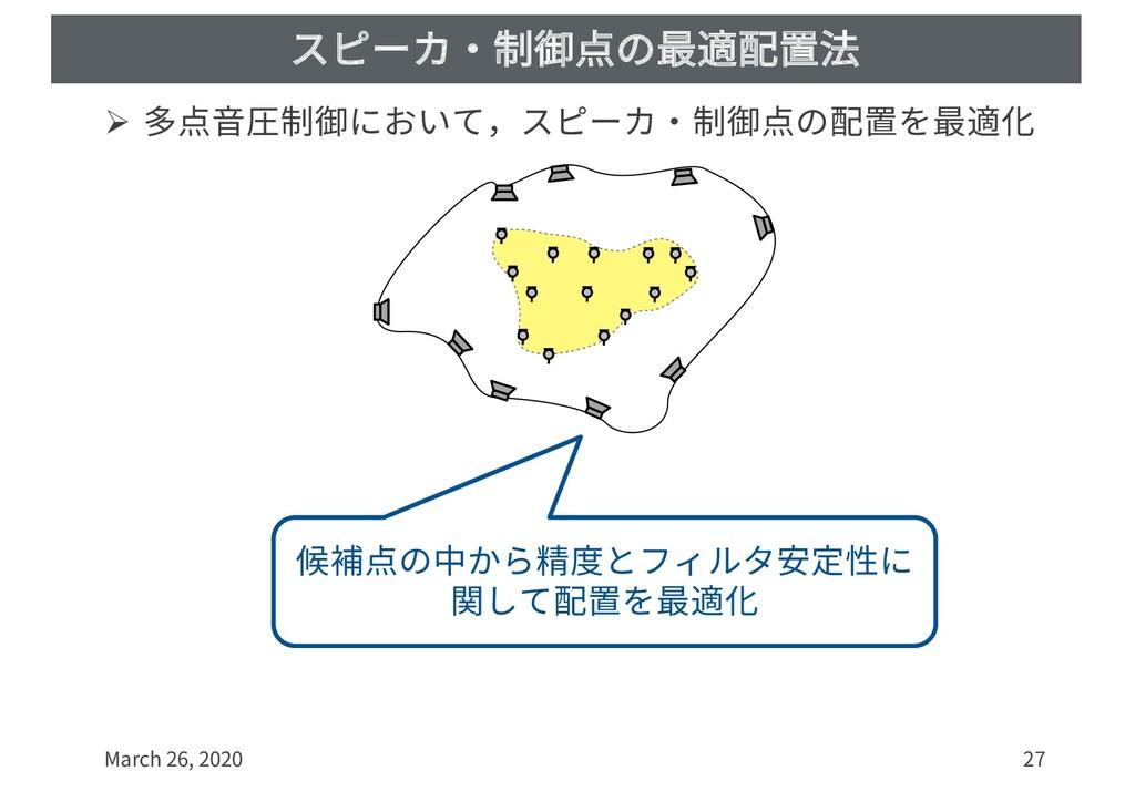 スピーカ・制御点の最適配置法 Ø 多点⾳圧制御において,スピーカ・制御点の配置を最適化 Mar...
