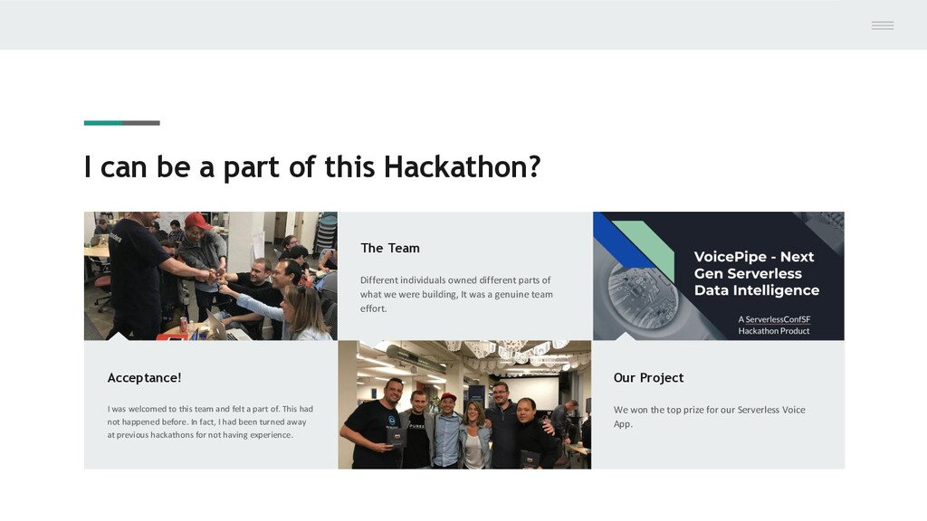I can be a part of this Hackathon? Acceptance! ...