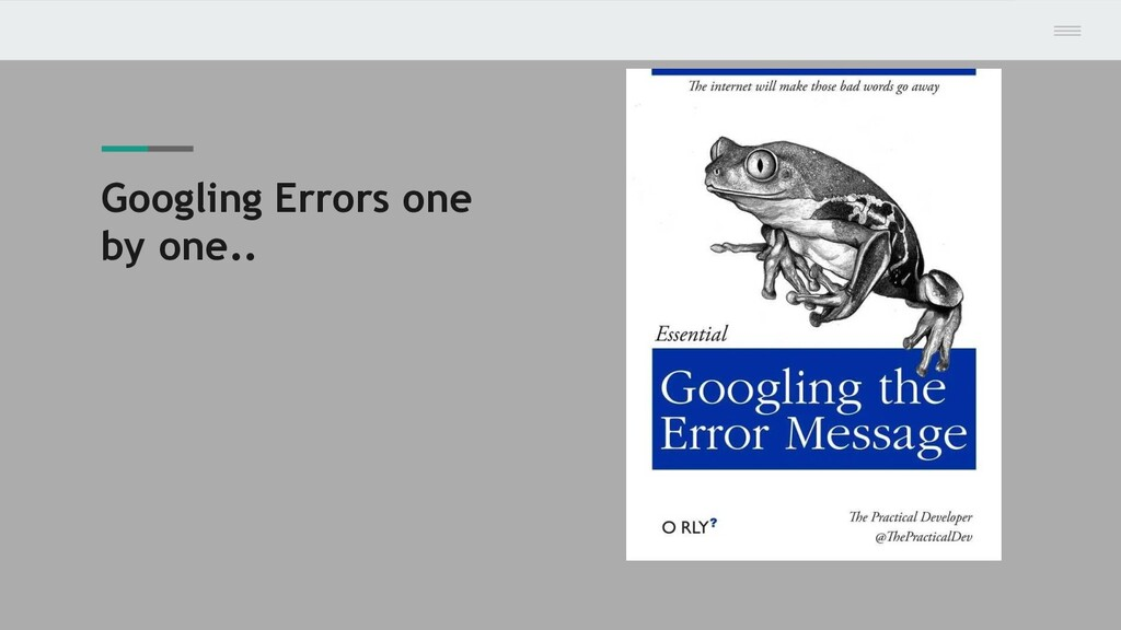 Googling Errors one by one..