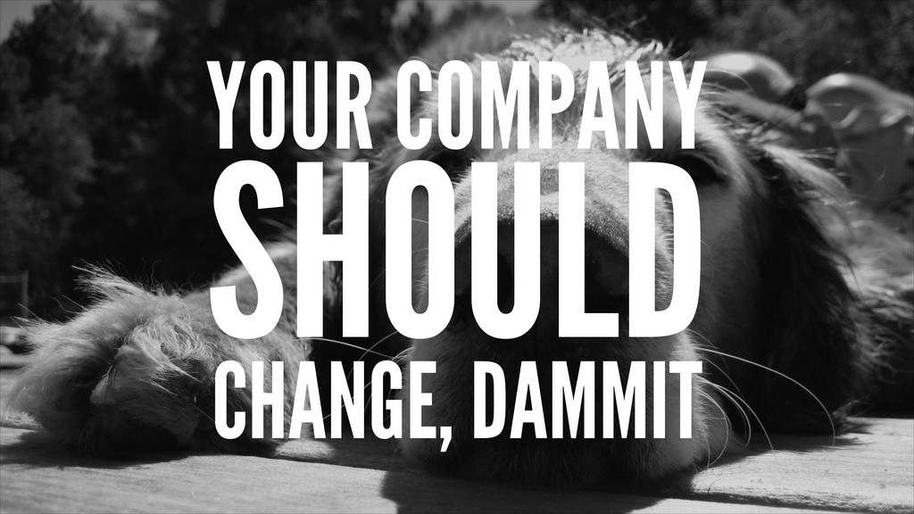 YOUR COMPANY SHOULD CHANGE, DAMMIT