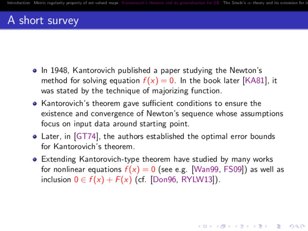 Introduction Metric regularity property of set-...