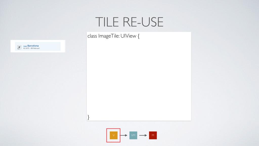 TILE RE-USE class ImageTile: UIView { var title...