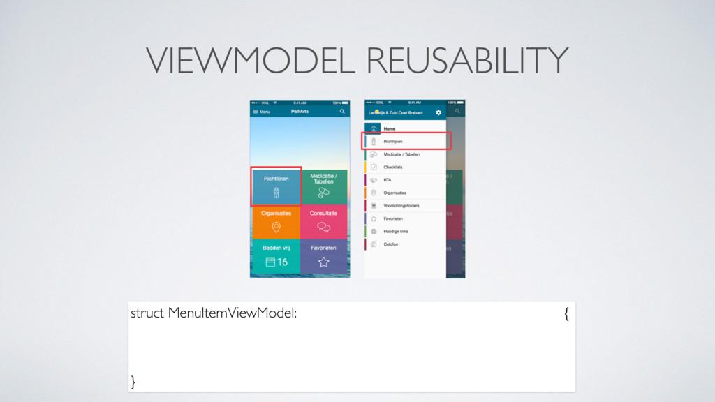 VIEWMODEL REUSABILITY struct MenuItemViewModel:...