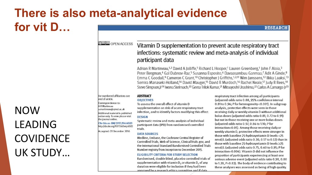 There is also meta-analytical evidence for vit ...