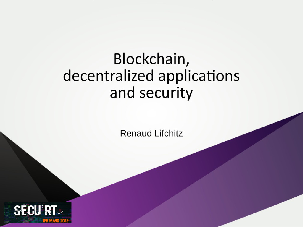 Blockchain, decentralized applications and secu...
