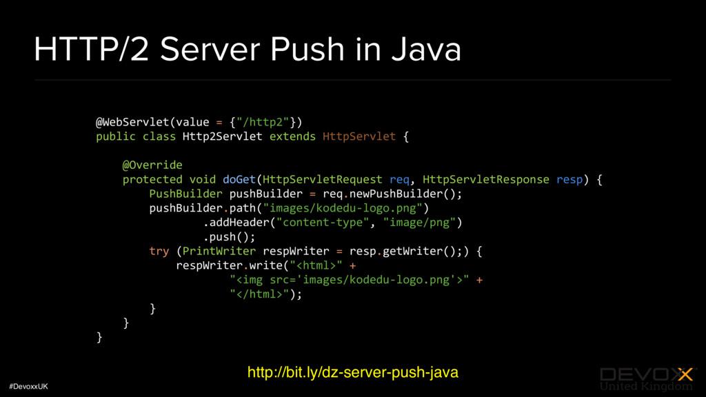 #DevoxxUK HTTP/2 Server Push in Java http://bit...