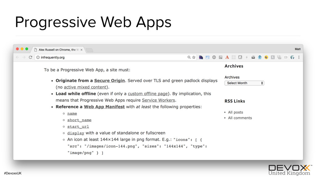 #DevoxxUK Progressive Web Apps