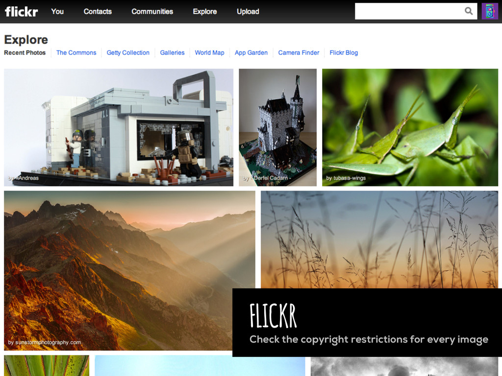 FLICKR Check the copyright restrictions for eve...