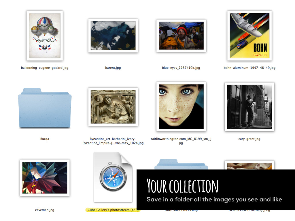Your collection Save in a folder all the images...