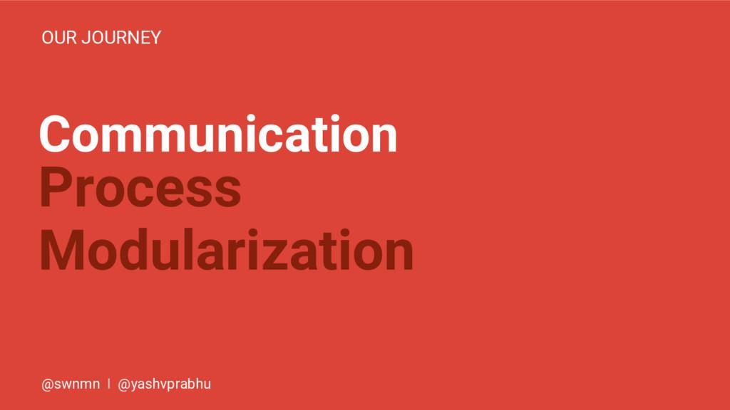 Communication OUR JOURNEY Process Modularizatio...