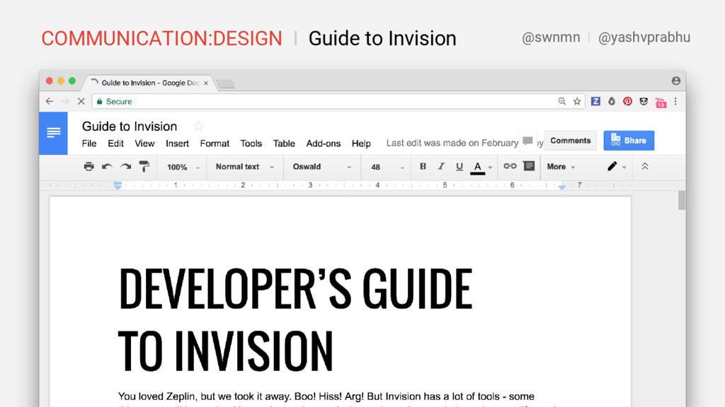 COMMUNICATION:DESIGN I Guide to Invision @swnmn...
