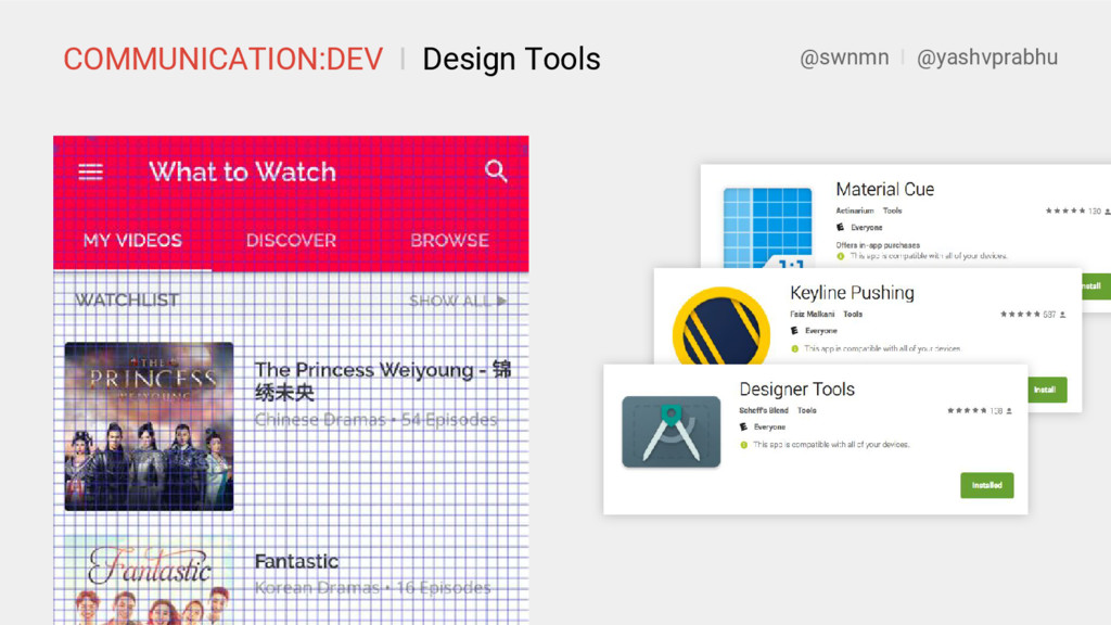 COMMUNICATION:DEV I Design Tools @swnmn I @yash...