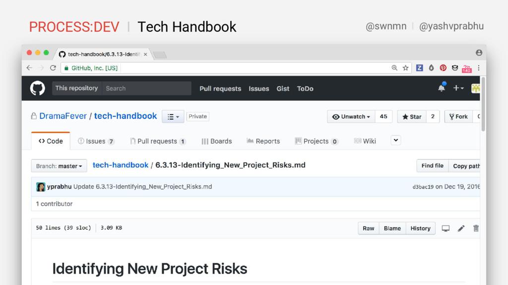 PROCESS:DEV I Tech Handbook @swnmn I @yashvprab...