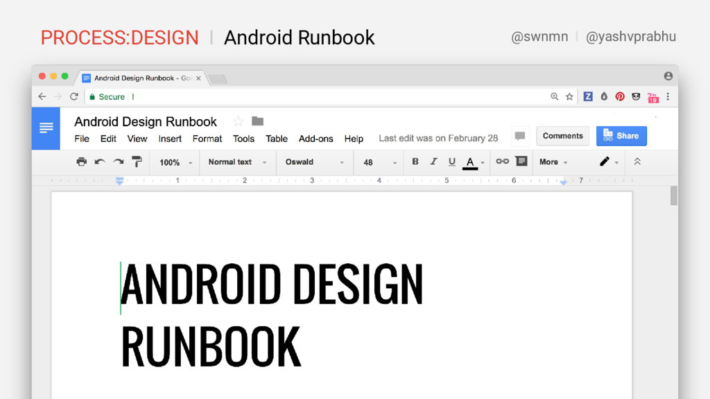 PROCESS:DESIGN I Android Runbook @swnmn I @yash...