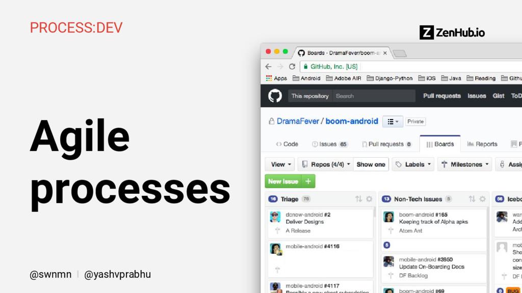 Agile processes PROCESS:DEV @swnmn I @yashvprab...