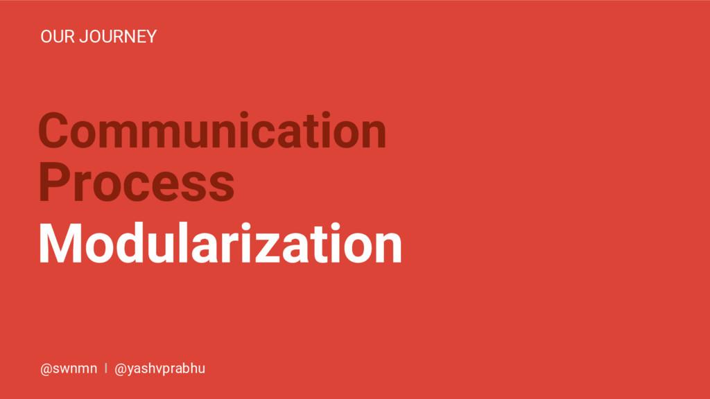 Communication Process Modularization OUR JOURNE...