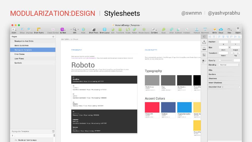 MODULARIZATION:DESIGN I Stylesheets @swnmn I @y...