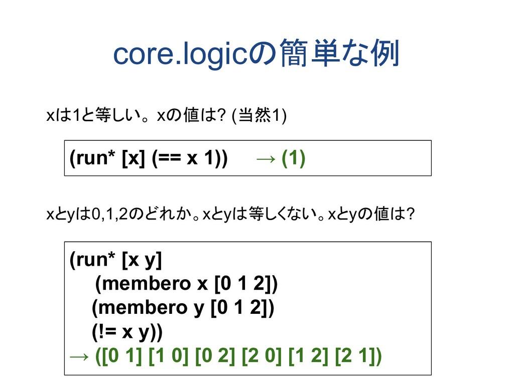 core.logicの簡単な例 xは1と等しい。 xの値は? (当然1) xとyは0,1,2の...