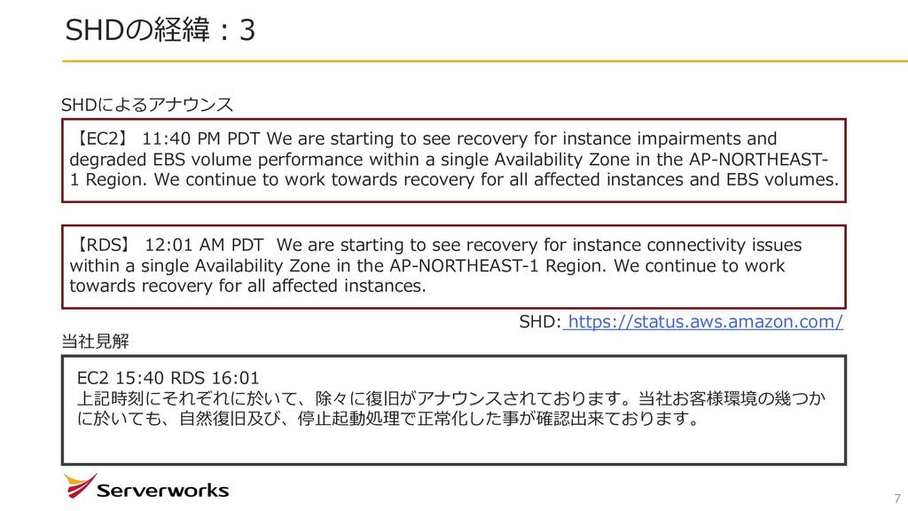 SHDの経緯︓3 7 【EC2】 11:40 PM PDT We are starting t...