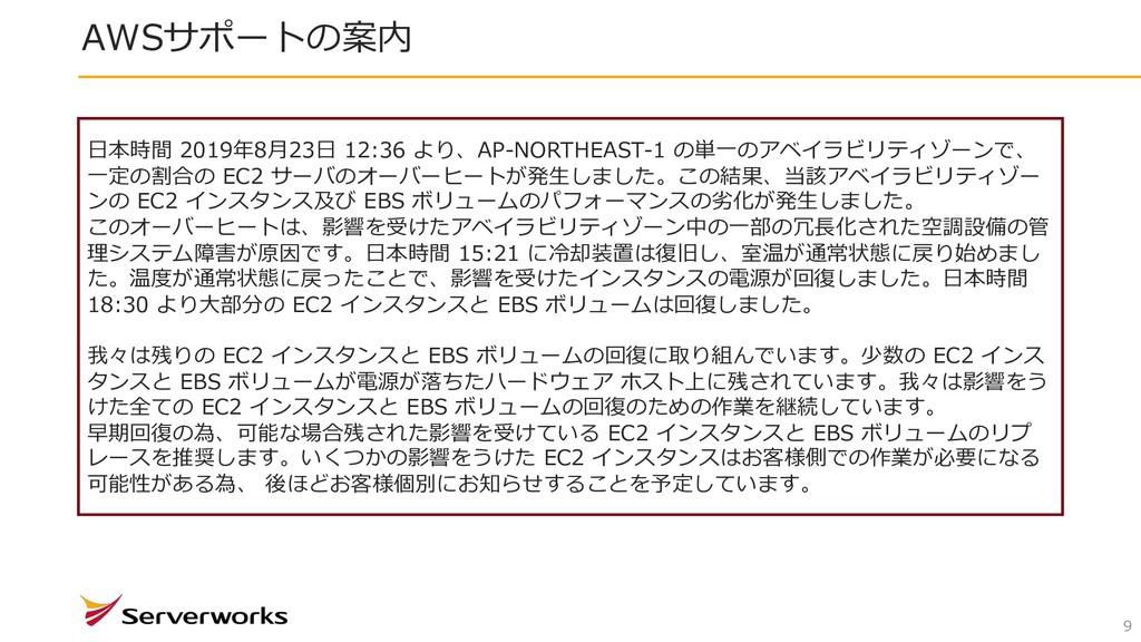AWSサポートの案内 9 ⽇本時間 2019年8⽉23⽇ 12:36 より、AP-NORTHE...