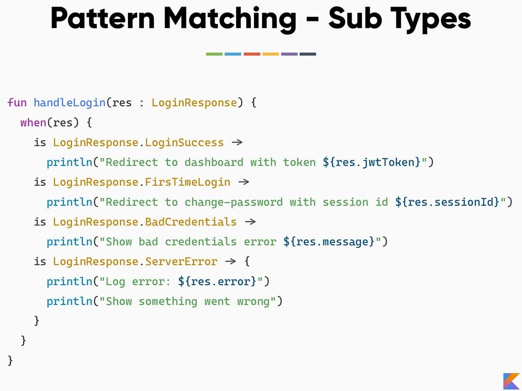 Pattern Matching - Sub Types fun handleLogin(re...