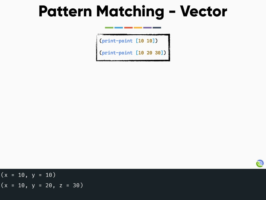 Pattern Matching - Vector (x = 10, y = 10) (x =...