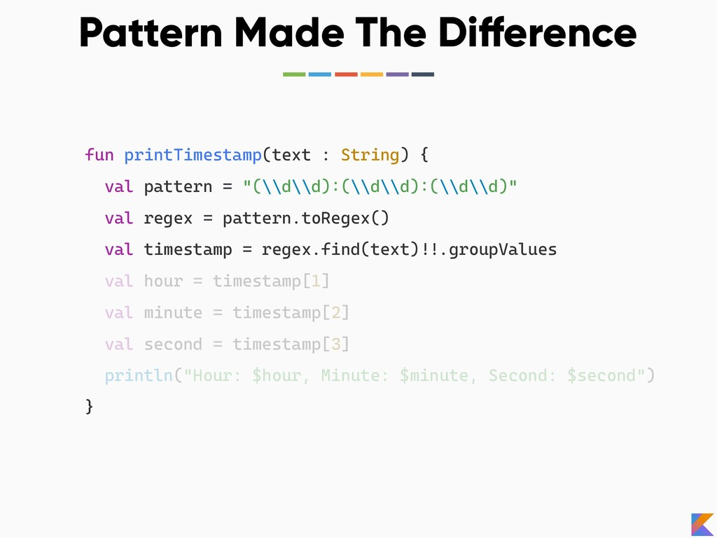 Pattern Made The Difference fun printTimestamp(...