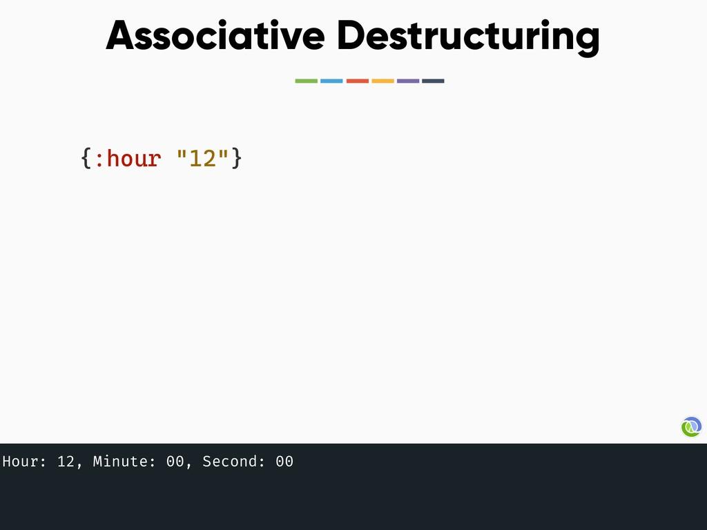 "{:hour ""12""} Associative Destructuring Hour: 12..."