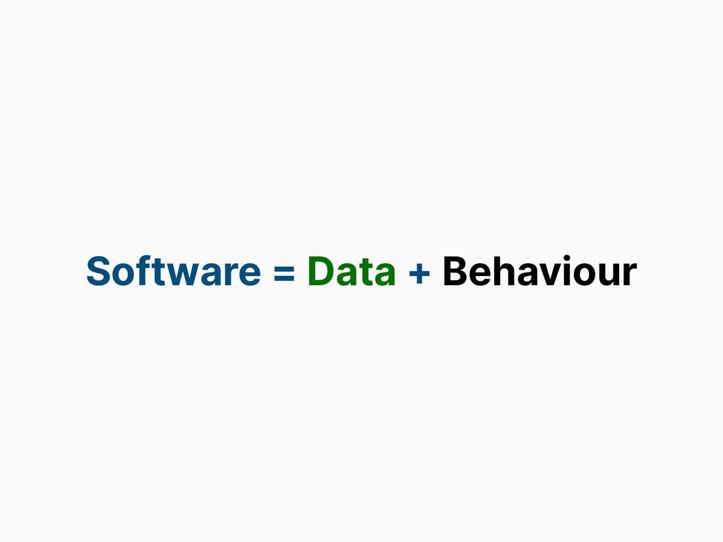 Software = Data + Behaviour