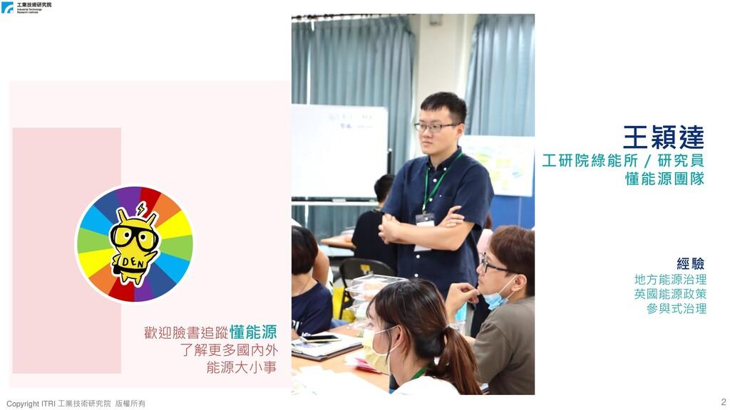 2 Copyright ITRI 工業技術研究院 版權所有 Copyright ITRI 工業...