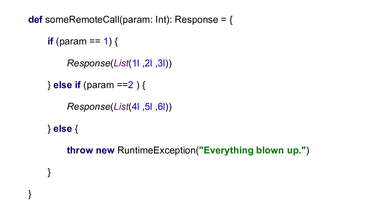 def someRemoteCall(param: Int): Response = { if...