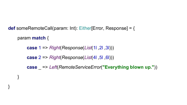 def someRemoteCall(param: Int): Either[Error, R...