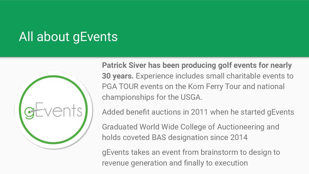 All about gEvents Patrick Siver has been produc...