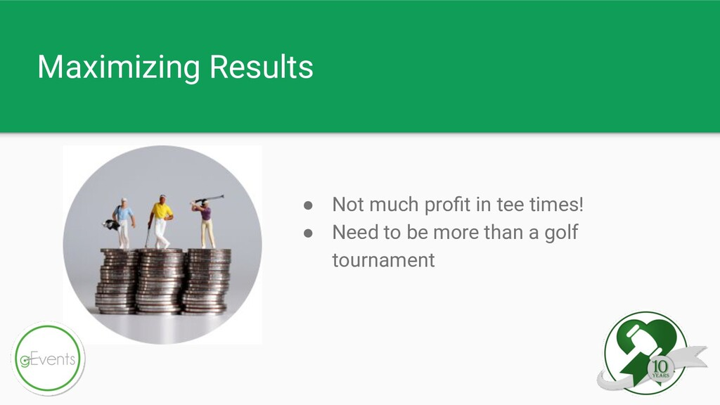 Maximizing Results ● Not much profit in tee time...