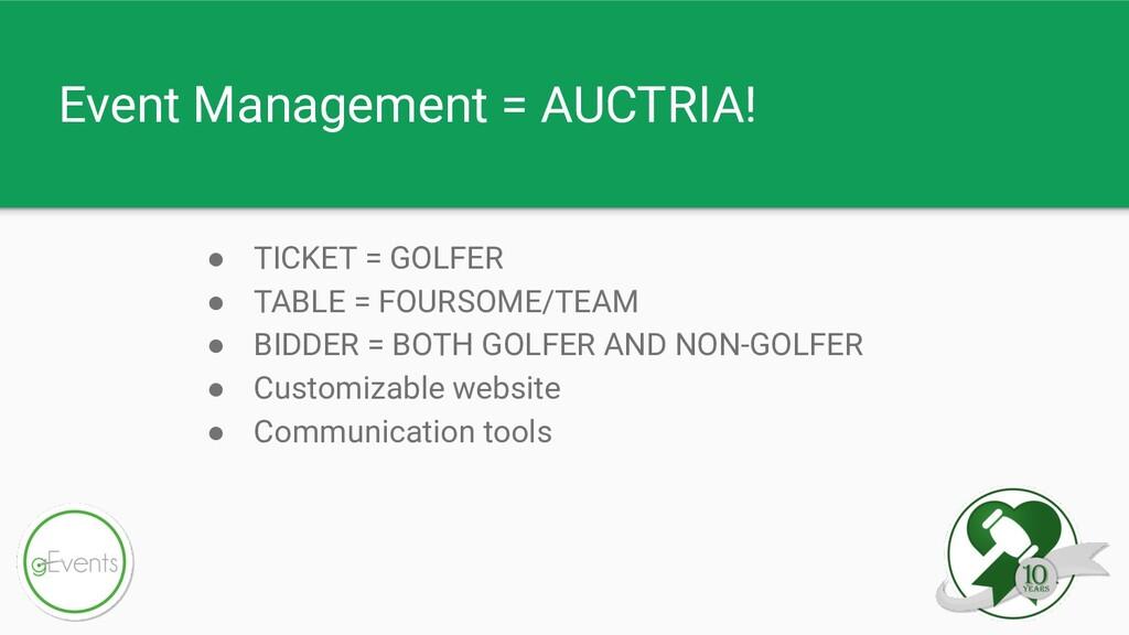 Event Management = AUCTRIA! ● TICKET = GOLFER ●...
