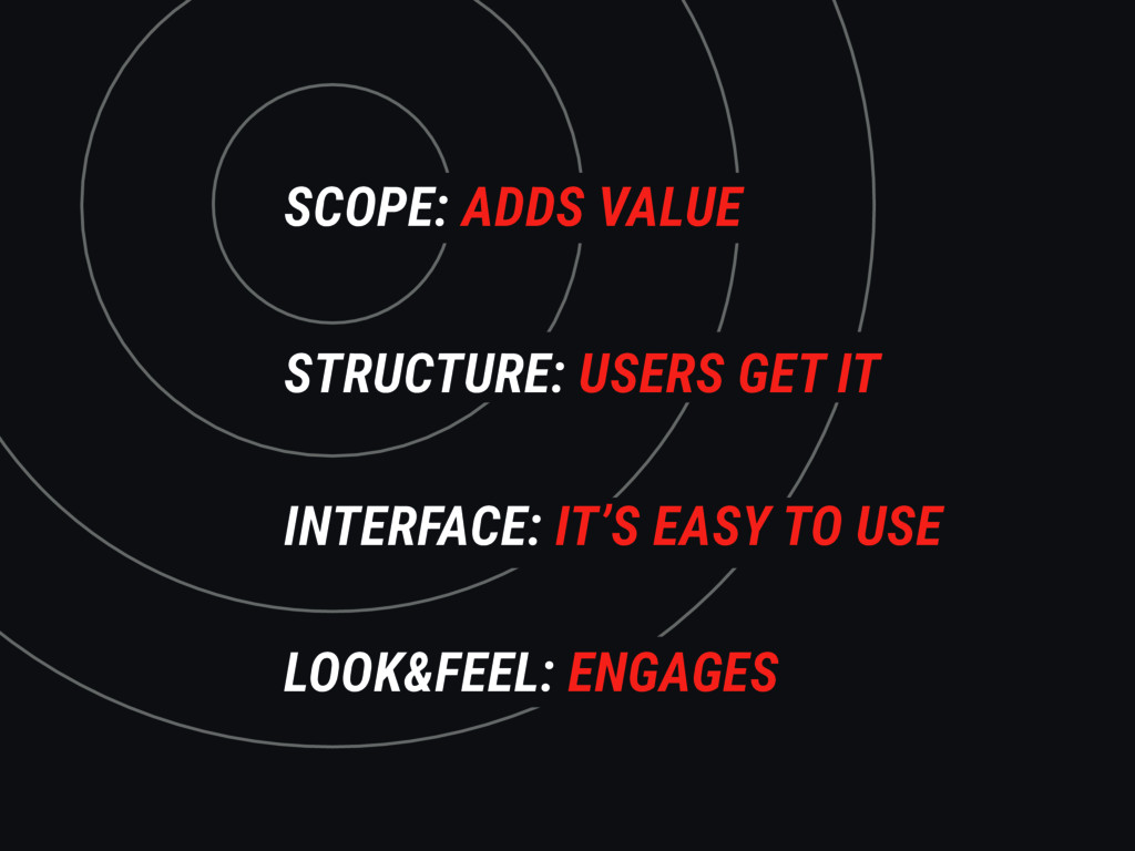 SCOPE: ADDS VALUE STRUCTURE: USERS GET IT INTER...