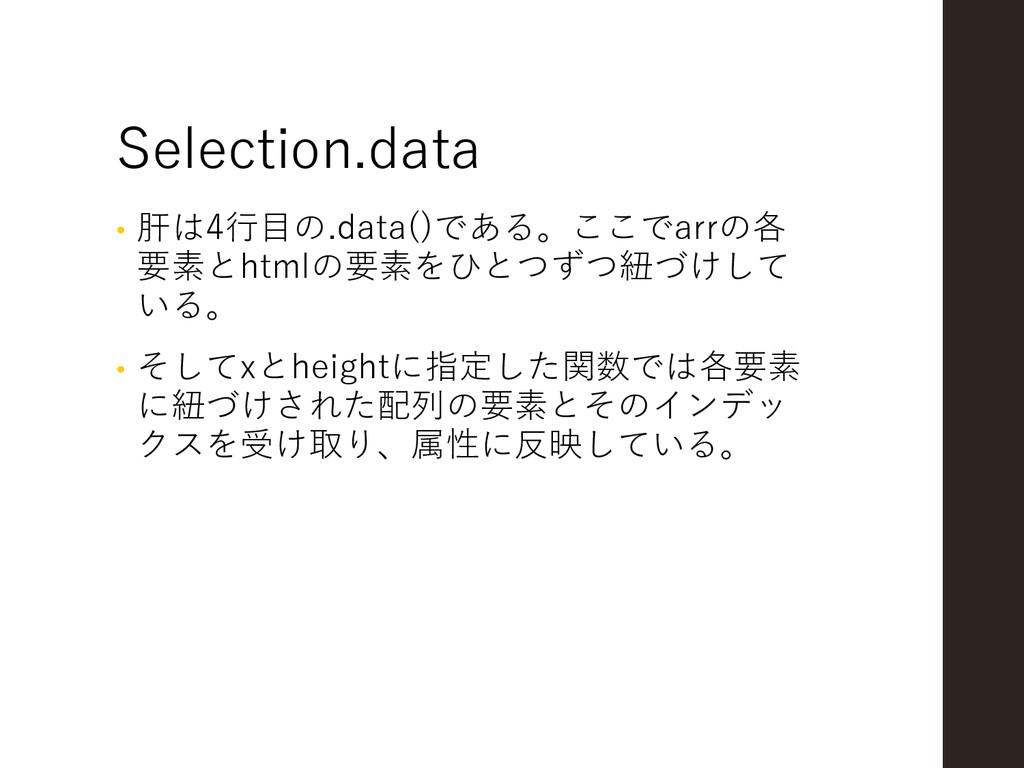 Selection.data • 肝は4行目の.data()である。ここでarrの各 要素とh...