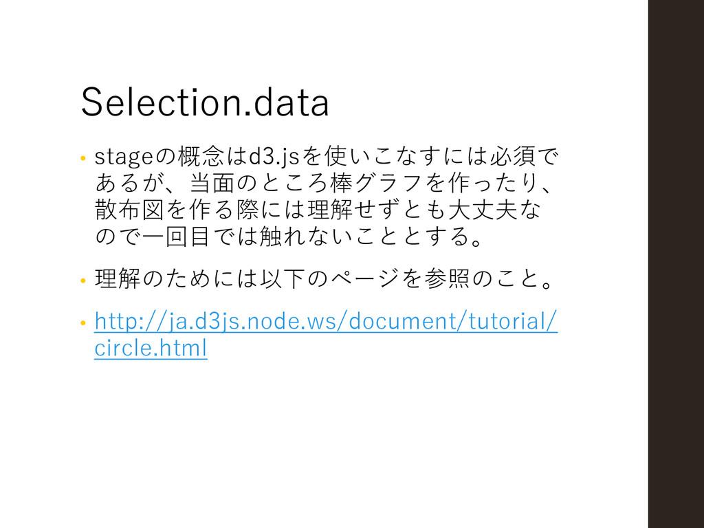 Selection.data • stageの概念はd3.jsを使いこなすには必須で あるが、...