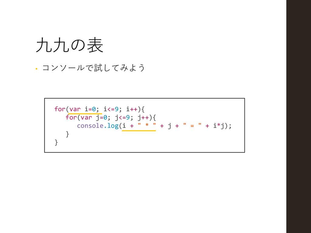 九九の表 for(var i=0; i<=9; i++){ for(var j=0; j<=9...
