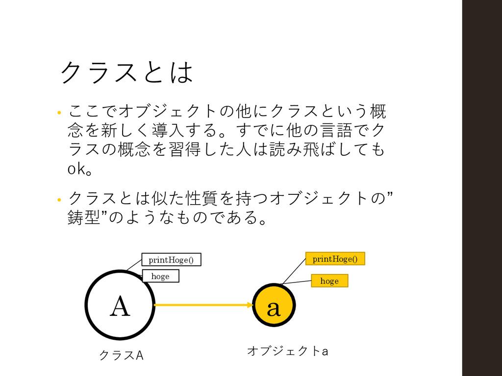 クラスとは • ここでオブジェクトの他にクラスという概 念を新しく導入する。すでに他の言語でク...