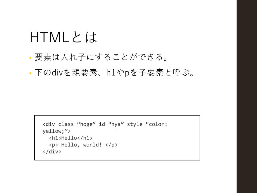 HTMLとは • 要素は入れ子にすることができる。 • 下のdivを親要素、h1やpを子要素と...