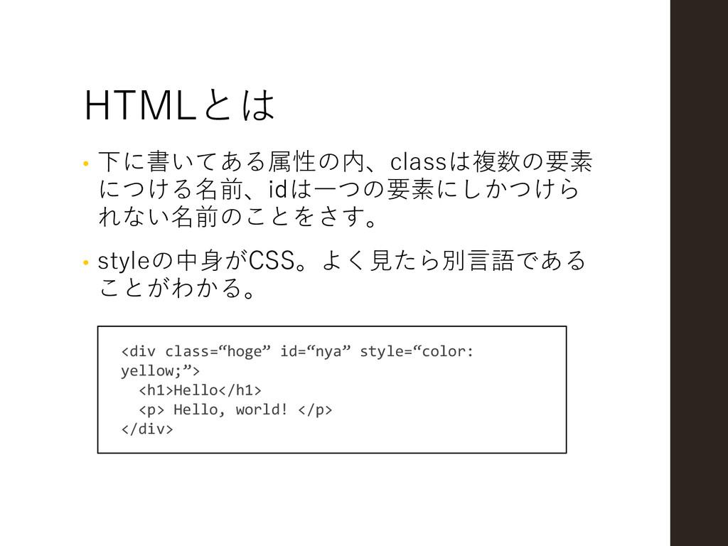 HTMLとは • 下に書いてある属性の内、classは複数の要素 につける名前、idは一つの要...