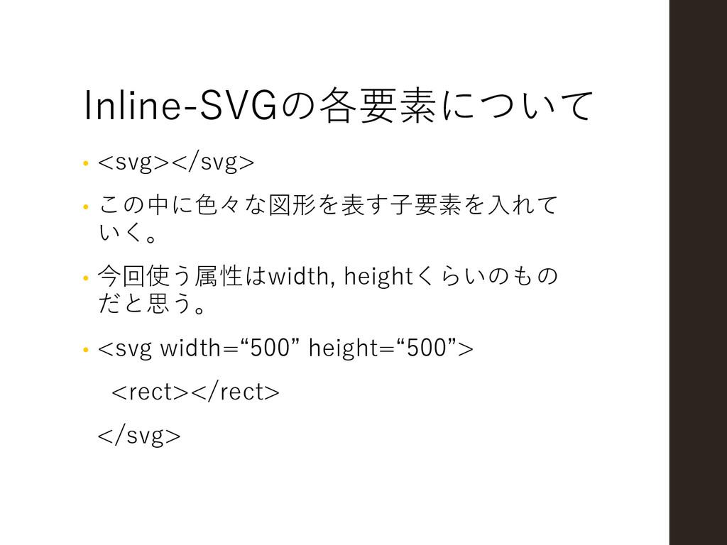 Inline-SVGの各要素について • <svg></svg> • この中に色々な図形を表す...