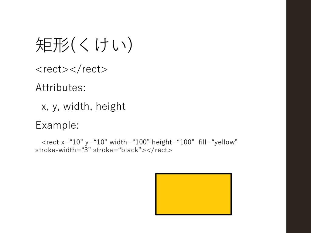 矩形(くけい) <rect></rect> Attributes: x, y, width, ...